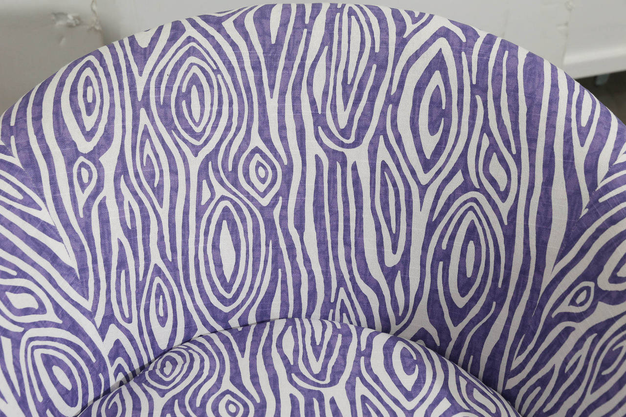 Pair of Newly Upholstered Purple & White Animal Print Barrel Back Lounge Chairs For Sale 1