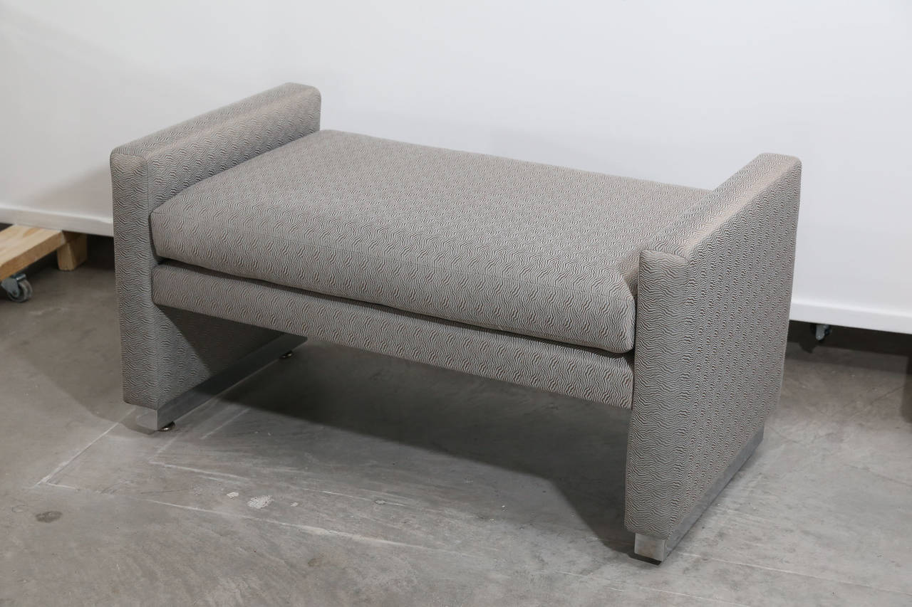 Mid-Century Modern Milo Baughman Newly Upholstered Bench with Chrome Base For Sale 11