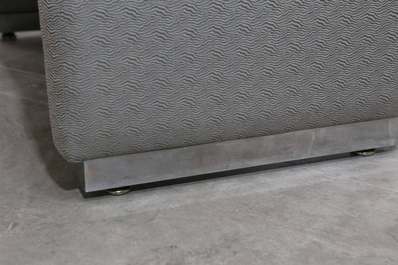 Mid-Century Modern Milo Baughman Newly Upholstered Bench with Chrome Base For Sale 9