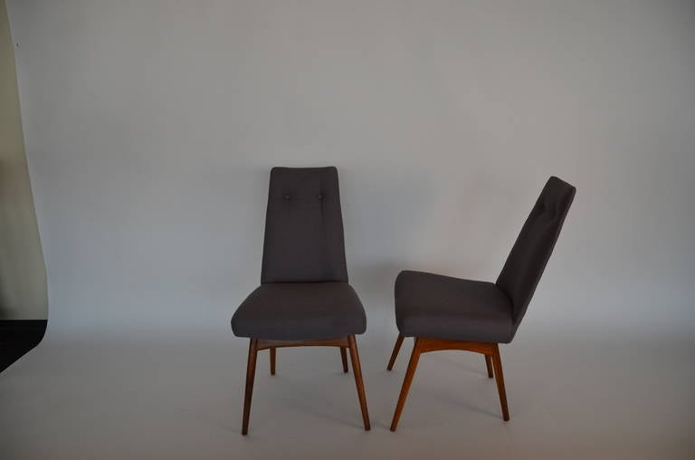Mid Century Modern Adrian Pearsall S/6 Walnut & Linen Dining Chairs For Sale 1