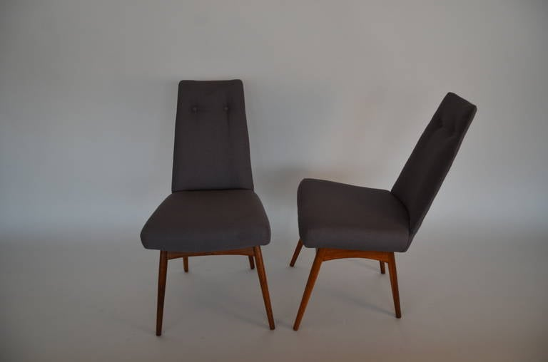 Mid Century Modern Adrian Pearsall S/6 Walnut & Linen Dining Chairs For Sale 2