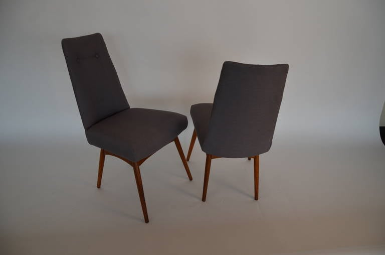 Mid-20th Century Mid Century Modern Adrian Pearsall S/6 Walnut & Linen Dining Chairs For Sale