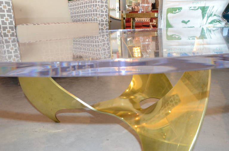 Knut Hesterberg Brass Propeller Coffee Table With Lucite