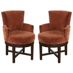 Pair of A. Rudin Swivel Armchairs