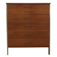 Mid Century Modern Paul McCobb for Calvin Walnut & Brass Chest of Drawers