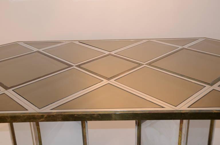 Romeo Rega Brass, Chrome & Cut Glass Mirror Harlequin Style Dining Table / Desk For Sale 2