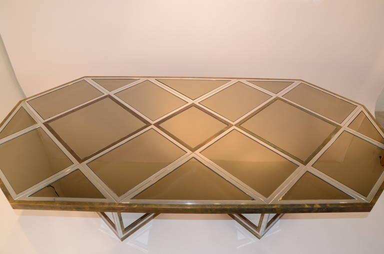 Romeo Rega Brass, Chrome & Cut Glass Mirror Harlequin Style Dining Table / Desk For Sale 3