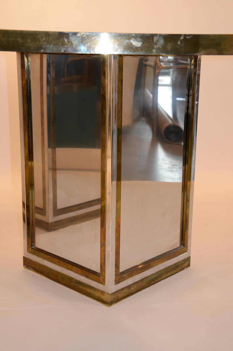 Romeo Rega Brass, Chrome & Cut Glass Mirror Harlequin Style Dining Table / Desk For Sale 4