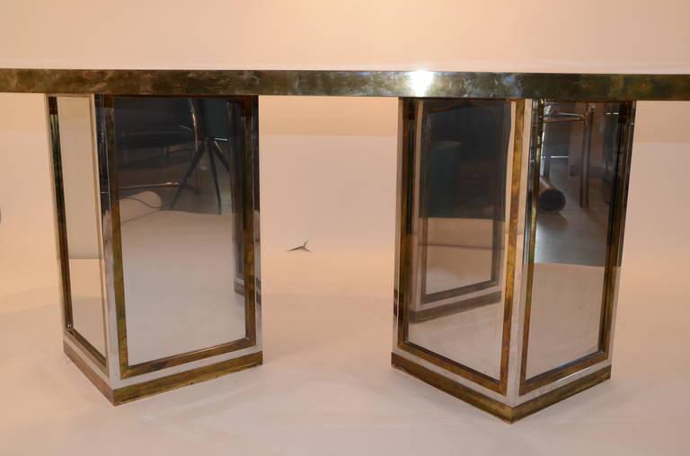 Romeo Rega Brass, Chrome & Cut Glass Mirror Harlequin Style Dining Table / Desk For Sale 5
