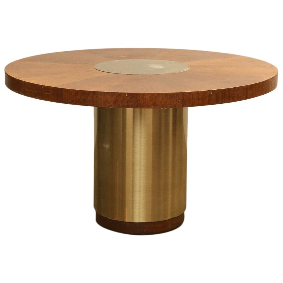 Modern Wood And Brass Top With Brass Pedestal Base Dining Table At