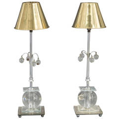 Pair of Lucite Orb Lamps