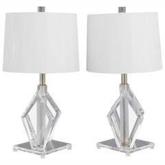 Polished Edge Lucite Diamond Table Lamps