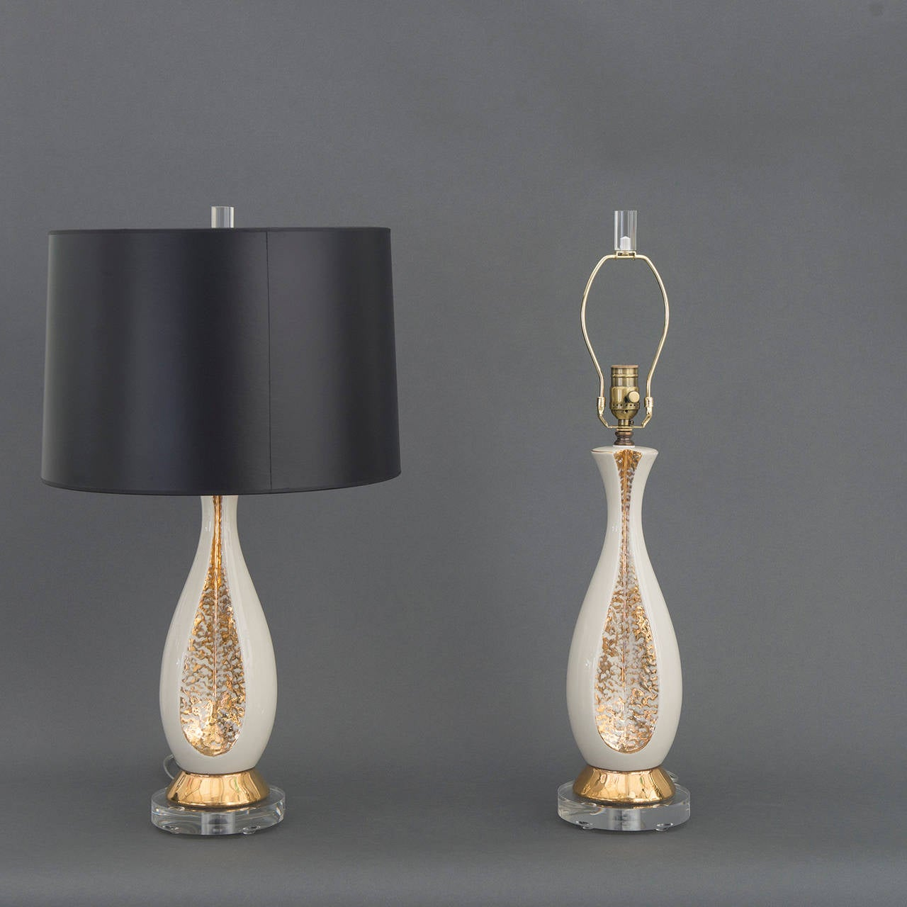 pair of danish creamy white and gold table lamps for sale. Black Bedroom Furniture Sets. Home Design Ideas