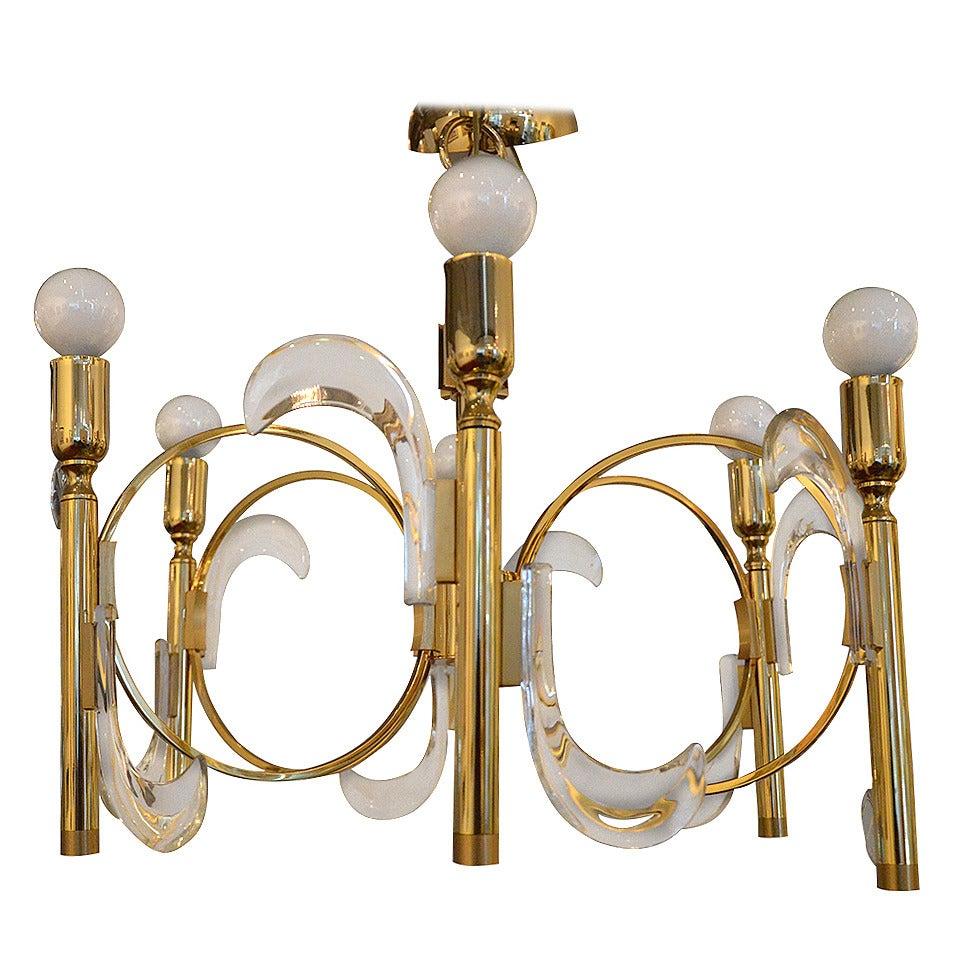 Mid Century Modern Italian Gaetano Sciolari Lucite and Brass Chandelier