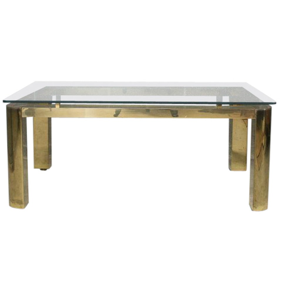 Pace Mid-Century Modern Brass and Floating Glass Cocktail Table