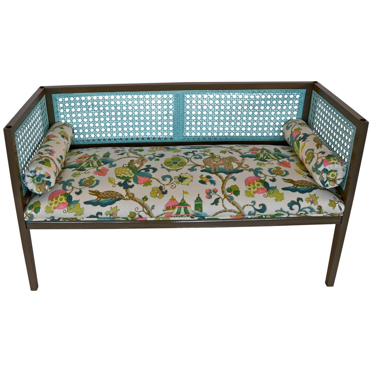 Mid Century Regency Style Newly Lacquered & Upholstered Rattan Back/ Side Settee