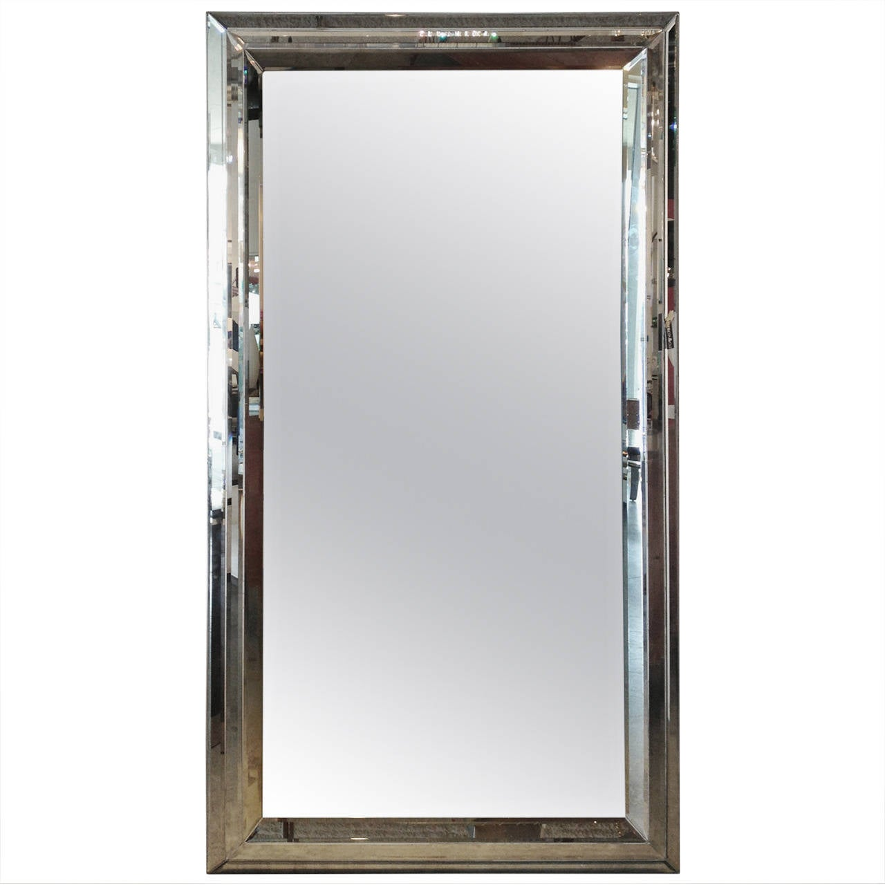 Monumental modern decorative mirror with linear etched for Fancy floor mirrors