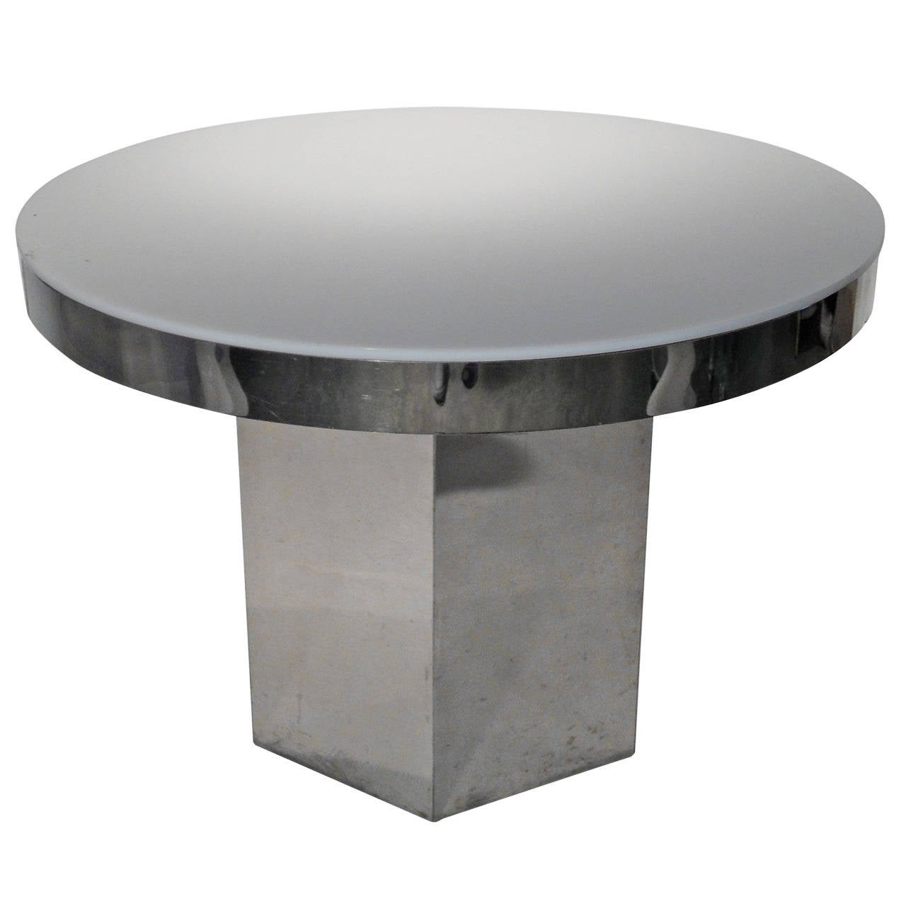 Mid Century Modern Chrome & Lucite Dining / Game Table with Hexagon Base