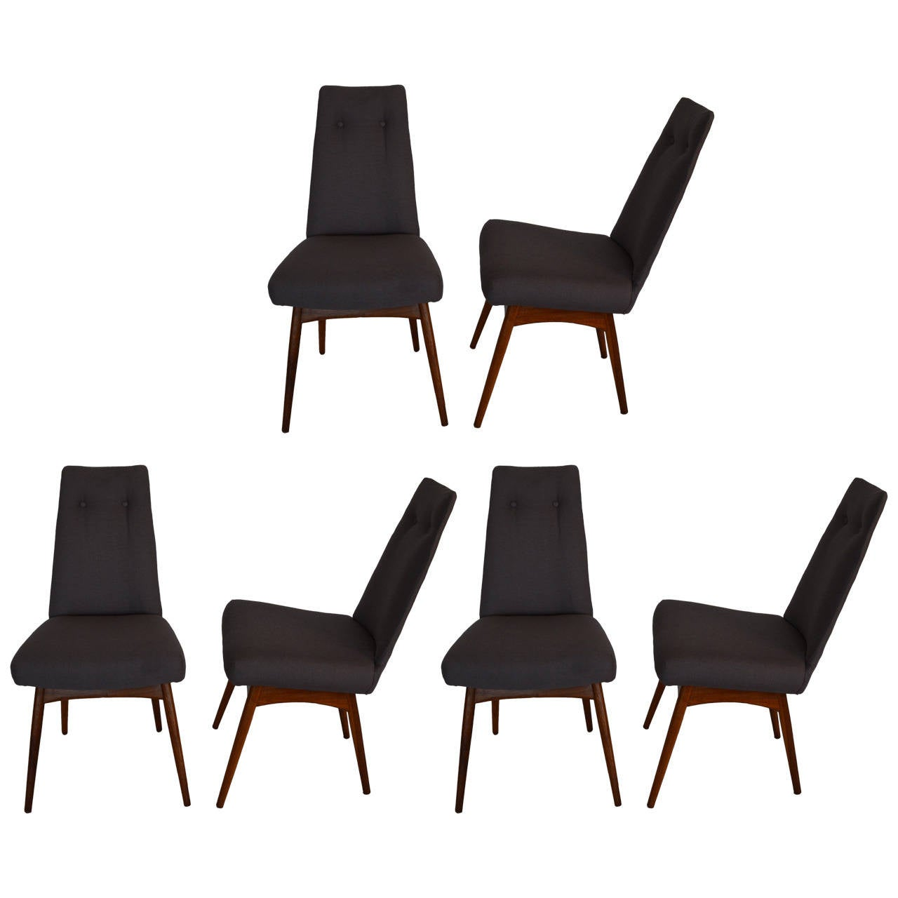 Mid Century Modern Adrian Pearsall S/6 Walnut & Linen Dining Chairs For Sale
