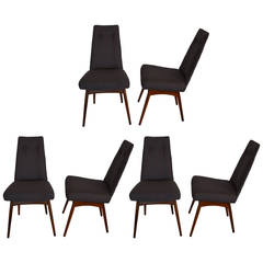 Mid Century Modern Adrian Pearsall S/6 Walnut & Linen Dining Chairs