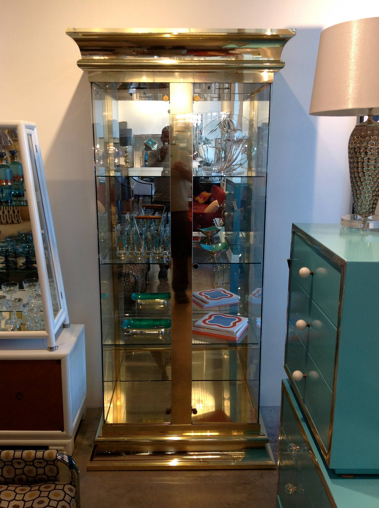 Mastercraft Brass and Glass Display Cabinet at 1stdibs