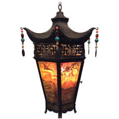 Arts & Crafts Painted and Stained Glass Panel, Oriental Style Hanging Lantern