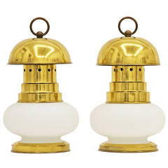 Pair of Stilnovo Brass and Glass Lantern Table Lamps