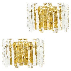 Pair of Kalmar Ice Glass Sconces