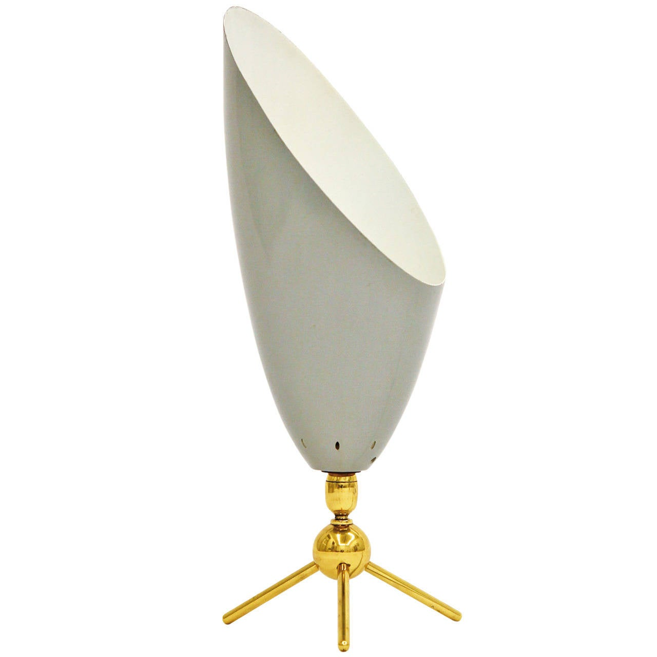 Sculptural Italian Brass Tripod Table Lamp with Lacquered ...