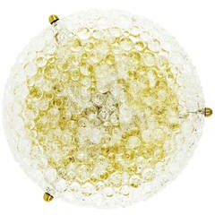 Large Textured Glass and Brass Flush Mount