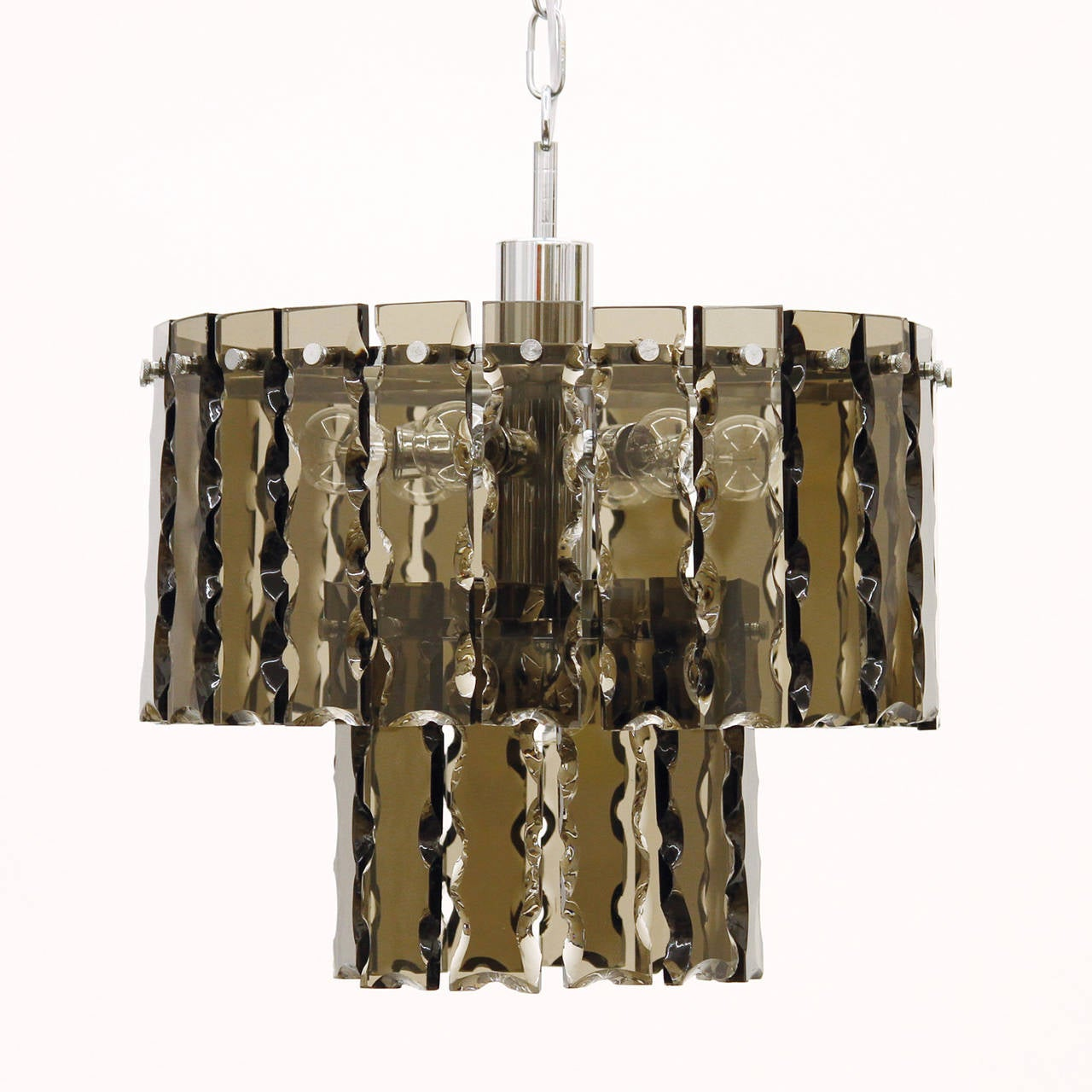 Fontana Arte Style Two-Tier Smoke Glass Chandelier 3