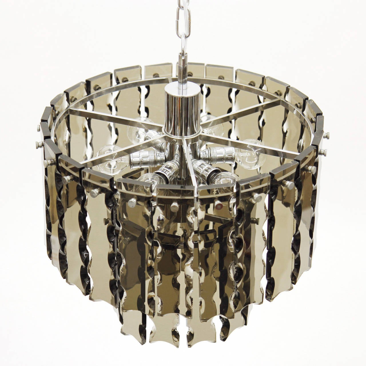 Fontana Arte Style Two-Tier Smoke Glass Chandelier 5