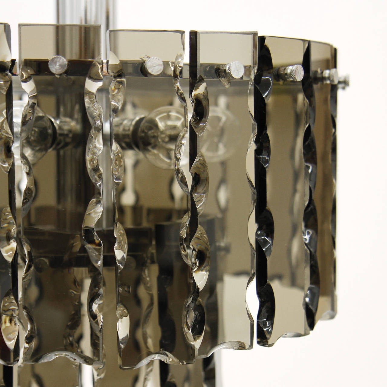 Fontana Arte Style Two-Tier Smoke Glass Chandelier 4