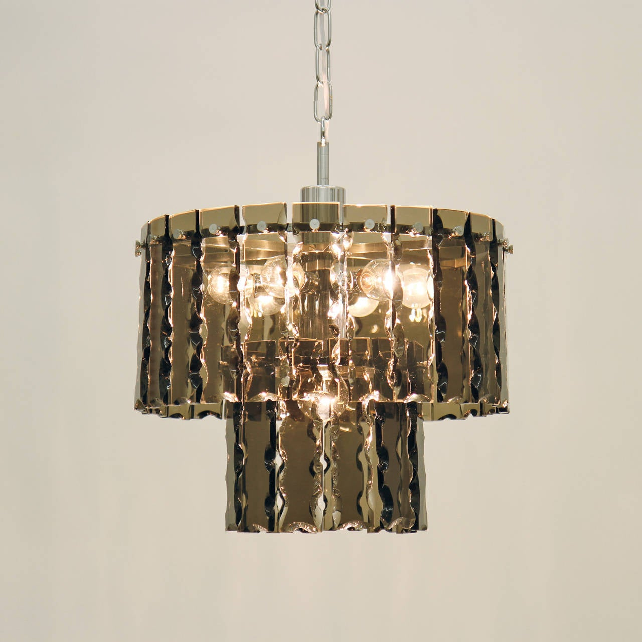 Fontana Arte Style Two-Tier Smoke Glass Chandelier 8