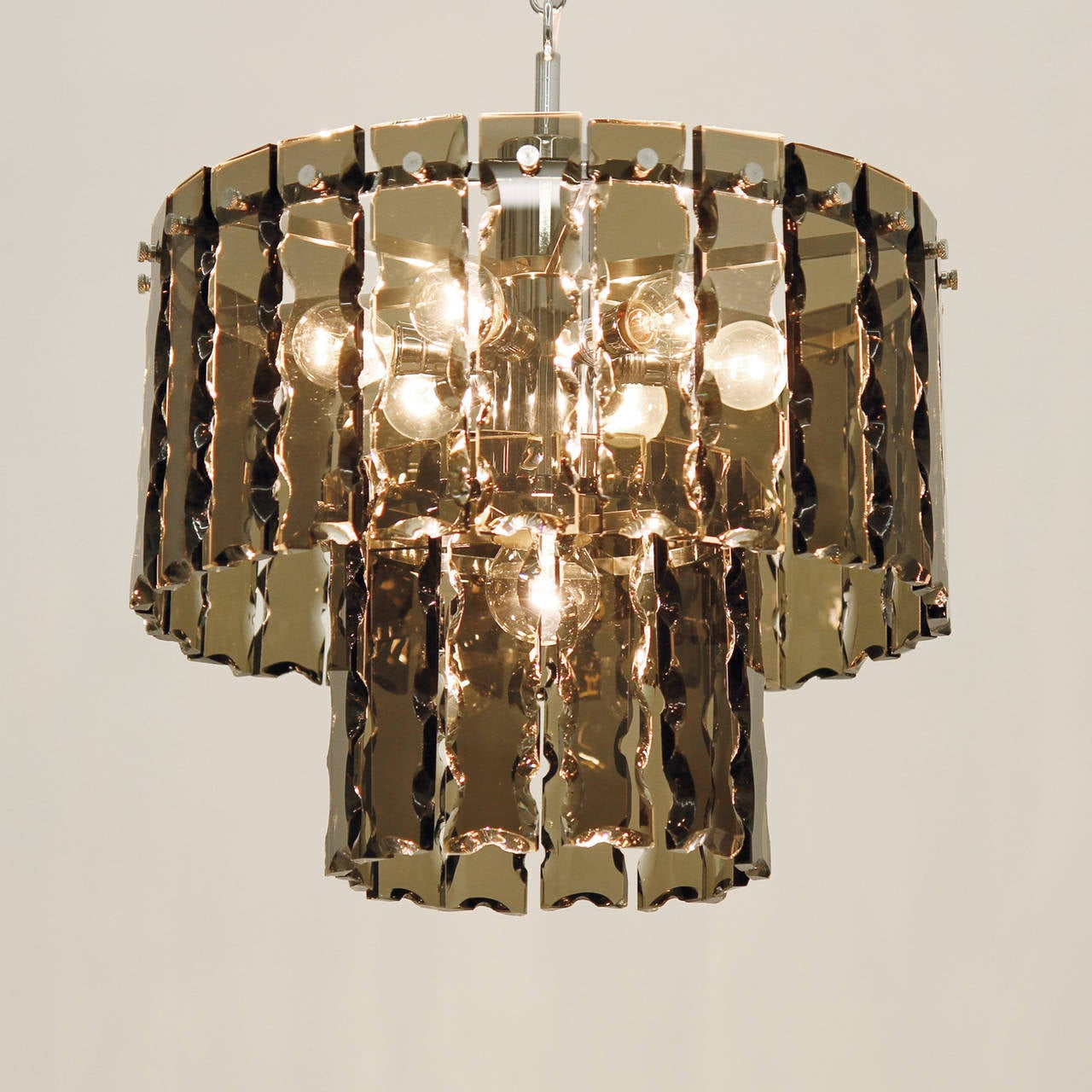 Fontana Arte Style Two-Tier Smoke Glass Chandelier 9