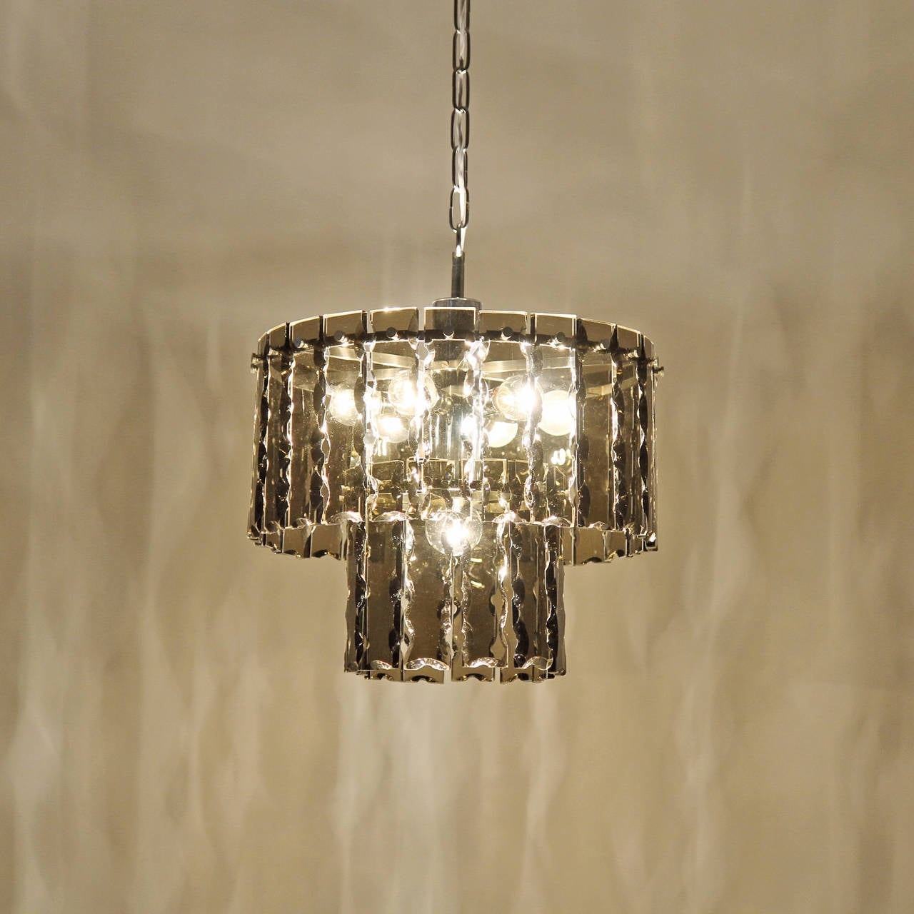 Fontana Arte Style Two-Tier Smoke Glass Chandelier 10