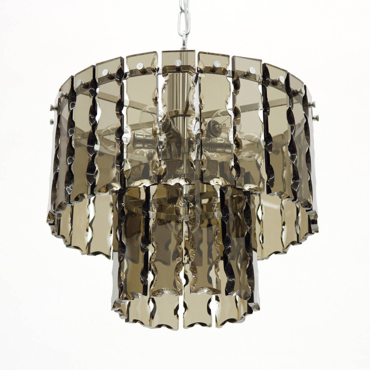 Fontana Arte Style Two-Tier Smoke Glass Chandelier 2