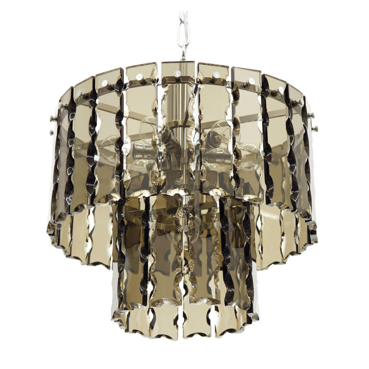 Fontana Arte Style Two-Tier Smoke Glass Chandelier 1