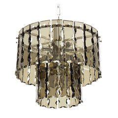 Fontana Arte Style Two-Tier Smoke Glass Chandelier
