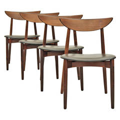 Set of Four Rosewood and Leather Dining Chairs by Harry Ostergaard