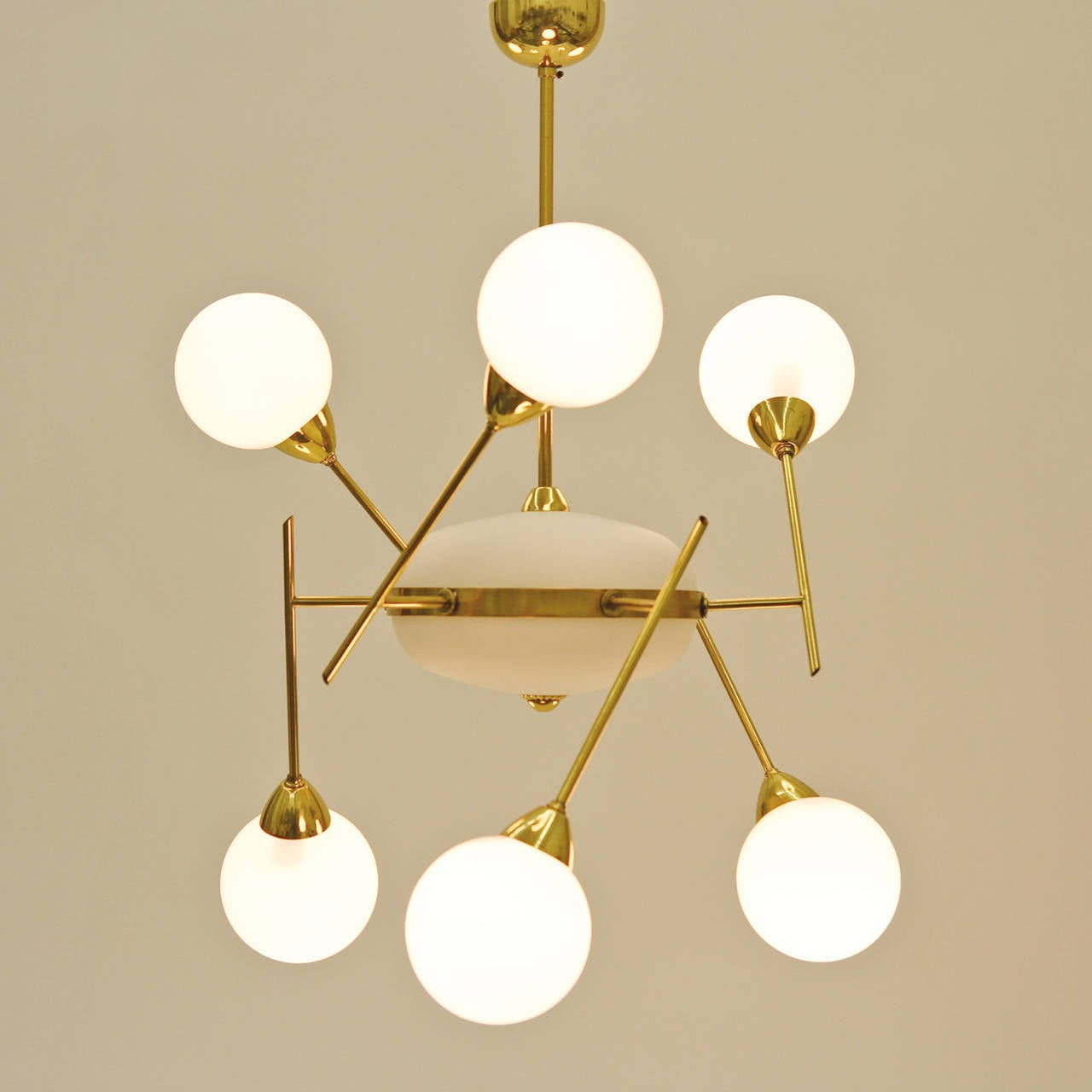 Unique Italian 1950s Brass and Glass Sputnik Chandelier at