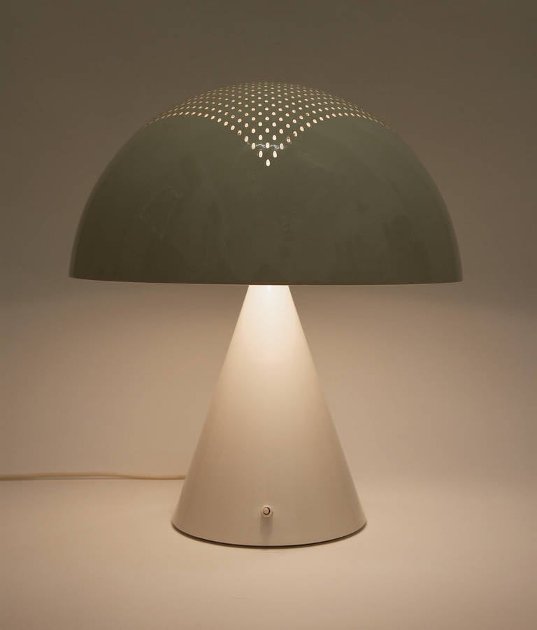 Large Space Age Mushroom Table Lamp With Perforated Shade