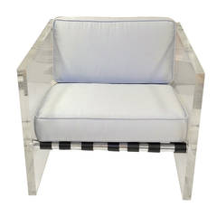 Vintage Lucite Slab Sided Lounge Chair by Milo Baughman