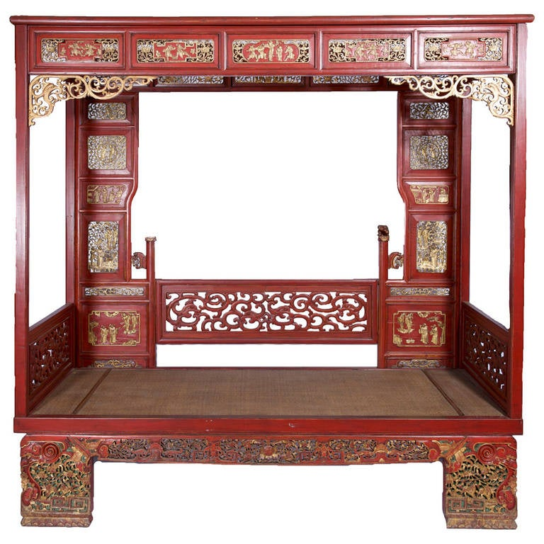 Antique Chinese Opium Bed Or Wedding Daybed With Carved