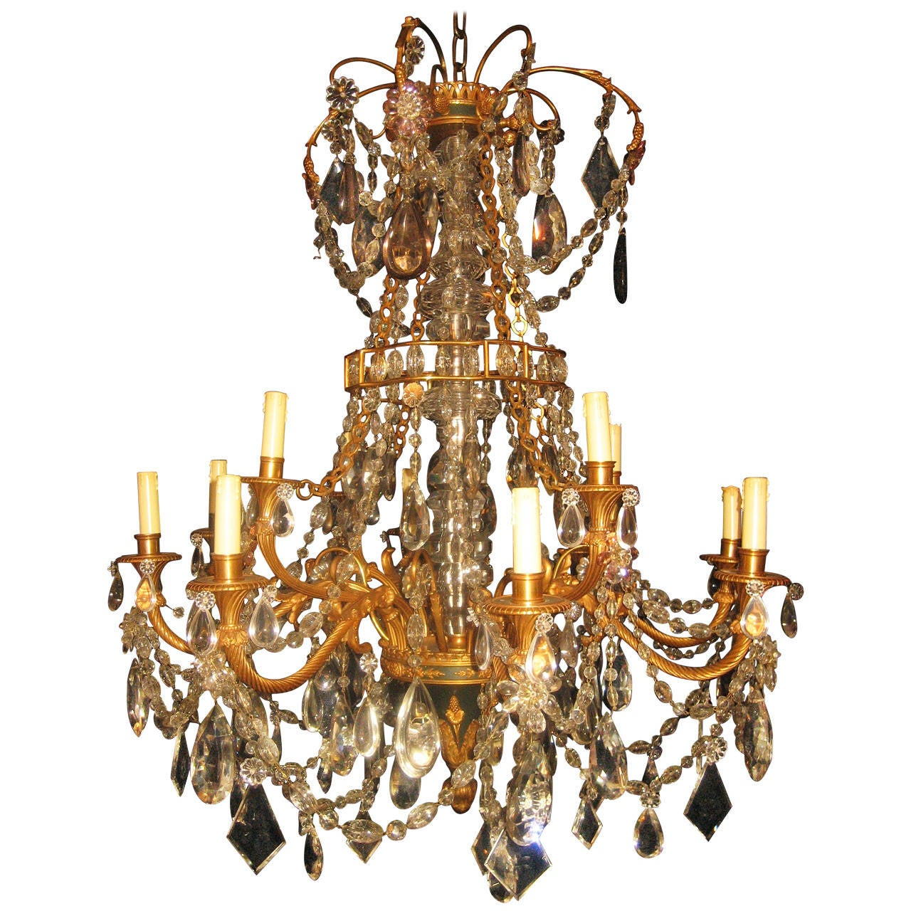 Fine Antique French Louis XVI Style Gilt Bronze and Cut Crystal Chandelier  For Sale - Fine Antique French Louis XVI Style Gilt Bronze And Cut Crystal