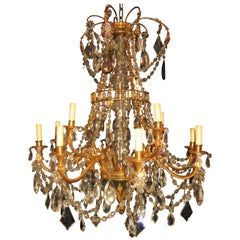 Fine Antique French Louis XVI Style Gilt Bronze and Cut Crystal Chandelier