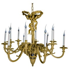 Magnificent Antique French Louis XVI Style Gilt Bronze and Patina Chandelier