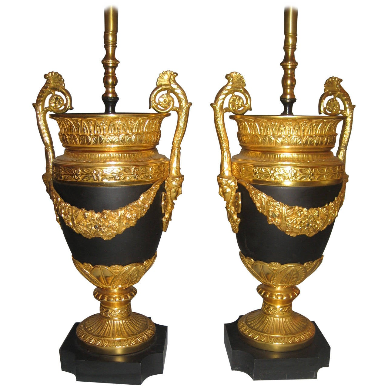 Pair of Antique French Empire Style Gilt Bronze and Patina Bronze Lamps