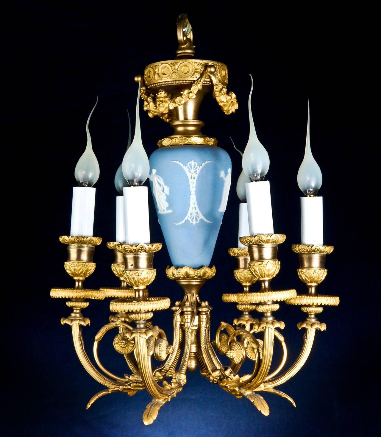 A Fine Antique French Louis Xvi Style Gilt Bronze Blue Wedgewood Jasper Ware Porcelain Chandelier