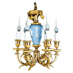 Fine Antique French Louis XVI Style Gilt Bronze and Wedgewood Chandelier